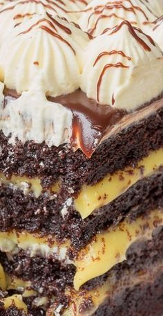 Marina's Bird's Milk Cake ~ Moist Chocolate Cake, Filled with Silky Custard, Covered in Drizzling Chocolate Ganache Glaze & Topped with Fluffy Mounts of Custard Lightened with Whipped Cream.