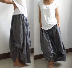 029Multi Wear Woman Linen Long Maxi Skirts with ties Full by EDOA, $55.33