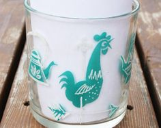 Hazel Atlas Kitchen Aids Glass Grease Jar Turquoise White Rooster Loom Teapot Clock