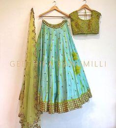 Beautiful designer sea green lehenga from Geethika Kanumilli. Indian Lehenga, Half Saree Lehenga, Lehnga Dress, Silk Lehenga, Green Lehenga, Black Lehenga, Anarkali, Dress Skirt, Lehenga Choli Designs