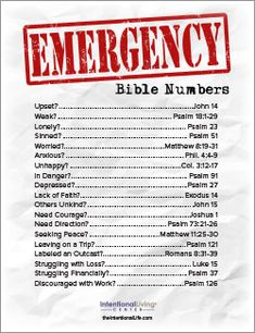 """Seeking a dose of encouragement, direction, and guidance in your life? We've created a powerful resource titled """"Emergency Bible Numbers"""" that you can download and print FREE of charge. This quick guide will help you easily find scripture that speaks to many of life's challenges. People have been printing this and placing it in their …"""