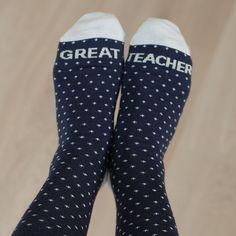 "Calcetines para ""great teacher"". Teacher socks"