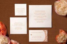 white and orange traditional letterpress wedding invitation suite