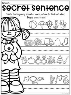 English Worksheets For Kids, 1st Grade Worksheets, Phonics Worksheets, School Worksheets, Kindergarten Lessons, Kindergarten Writing, Kindergarten Worksheets, Math Lessons, Literacy