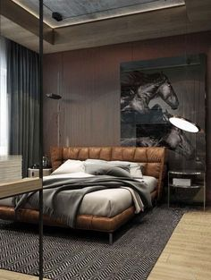Cool Masculine Bedroom for Mens with Brown Leather Bedroom and Horse Wall Pict D. Cool Masculine Bedroom for Mens with Brown Leather Bedroom and Horse Wall Pict Decor Men's Bedroom Design, Home Decor Bedroom, Bedroom Ideas, Bedroom Bed, Bedroom Interiors, Bedroom Furniture, Bedroom Inspo, Bedroom Flooring, Furniture Decor