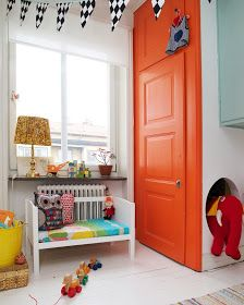 the doors, closet doors, upstairs bedroom, kids deco, door colors, orang door, kid rooms, accent colors, painted doors