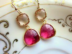 Fuchsia Earrings Champagne Peach Gold Two Tier - Bridesmaid Earrings - Wedding Earrings - Christmas Gift. $32.00, via Etsy.