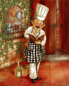 Browse through images in Shari Warren's Chefs and Waiters Art collection. Collection of Chef and Waiters artwork with lots of personality. Fun images for your kitchen or dining room decor. Chef Kitchen Decor, Kitchen Art, Kitchen Pics, Kitchen Stuff, Decoupage Vintage, Decoupage Paper, Decoupage Furniture, Vintage Ephemera, Chef Pictures