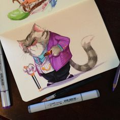 Copic Marker Art, Copic Markers, Rescue Rangers, Fat Cats, Medium Art, Cool Drawings, Sketching, Character Design, School