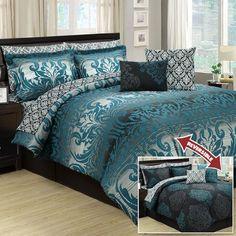 Designer Bedding Sets On Sale Grey And Teal Bedding, Purple Bedding Sets, Blue Comforter Sets, Queen Comforter Sets, Peacock Bedding, Peacock Bedroom, Black Comforter, Designer Comforter Sets, Luxury Bedding Sets