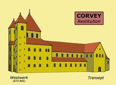 Corvey (Rhénanie-Westphalie): restitution de l'abbatiale- ARCHITECTURE CAROLINGIENNE 2) LES EDIFICES, 2: ..., la crypte de St Germain à Auxerre; l'abbatiale de St-Philibert de Grandlieu; St-Georges d'Oberzell (île de la Reichenau); l'église de Corvey (Westphalie); la crypte de Lanmeur (Finistère).
