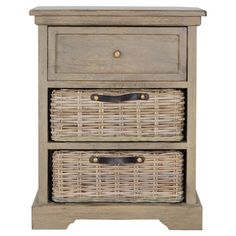 Side table in grey with one drawer and two removable woven baskets.  Product: Side tableConstruction Material: W...