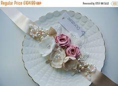 Bridal Sash, Rustic Champagne Pink Blush Wedding Sash, Bridal Belt, Wedding belt , Flower Sash, Vintage Inspired  Bridal Sash belt -MILLA
