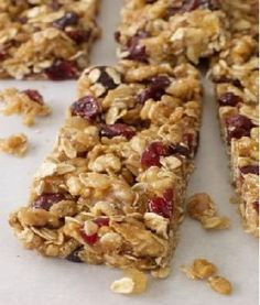 Homemade Healthy Oatmeal granola bars: banana, oats, pumpkin/sunflower seeds, applesauce, cinnamon, flax, and cranberries