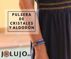 Pulsera de cristales y algodón de colores. www.jolujo.es