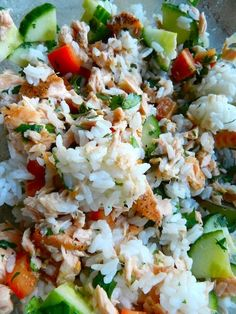 Do cauliflower rice Salmon & Lime Rice Salad -- Made some substitutions for what I had in my pantry but it was a definite hit! Fish Recipes, Seafood Recipes, Dinner Recipes, Cooking Recipes, Healthy Recipes, Healthy Salads, Healthy Foods, Salmon Dishes, Sauces