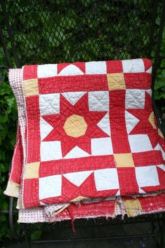 Vintage Red Yellow and White Country by livininthepast on Etsy