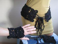 Custom order - Boho belt fingerless gloves, Women Belt Mittens, Crochet Belt Mittens, Lace Belt, Cotton belt, Blask ladies belt by BoryanacrochetBG on Etsy