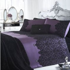 Debenhams Julien Macdonald Purple 'Chantelle' Bed Linen Standard Pillowcase Pair: Star by Juli. Purple Bedrooms, Purple Bedding, Julien Macdonald, Zara Home, Black Bed Linen, Bed Linen Design, Bed Linen Sets, Design Your Home, My New Room
