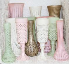 Vase Set Wedding In Blush Pink Mint Green Ivory by RedEggBoutique