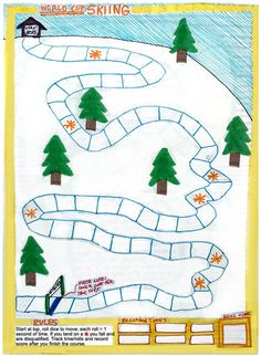Print and play the World Cup Skiing game from Artsology's vintage Fun Books series