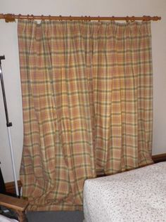 Pair Long Cotton Next Curtains Red Green Yellow Cream Tartan Check Fabric