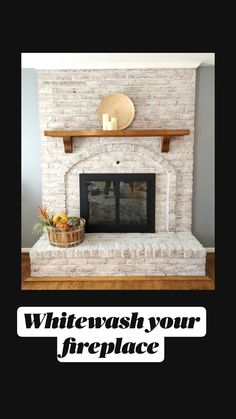 Brick Fireplace Remodel, White Wash Brick Fireplace, Painted Brick Fireplaces, Brick Fireplace Makeover, Home Fireplace, Living Room With Fireplace, Fireplace Design, Fireplace Whitewash, Brick Fireplace Decor