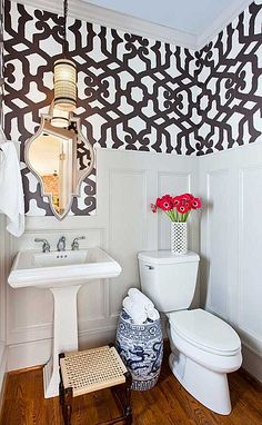 Amazing wallpaper - great style for a small space.