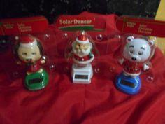 Solar Powered Dancing Christmas  Friends Lot of 3 + Free Gift!! NIP!