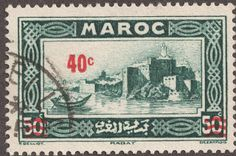 "French Morocco 1939 40c on 50c  dark blue green surcharged in red ""Kasbah of the Oudayas, Rabat"""