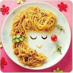 Pasta girl :D Food Art For Kids, Cute Food Art, Creative Food Art, Baby Food Recipes, Cooking Recipes, Food Carving, Good Food, Yummy Food, Food Decoration