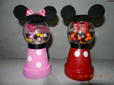 """MIckey and Minnie gumball party favors.  small clay pot, plastic fillable ornament, and felt. """"Gumballs"""" are sixlets"""