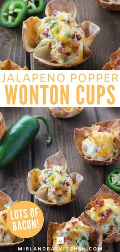 These Jalapeño Popper Wonton Cups are loaded with lots of bacon, cream cheese, jalapeños and cheddar. It is everything you love about poppers in a crunchy wonton!  It is the perfect appetizer for a party or the big game! Or really I make them for dinner but maybe don't tell!  #appitizer #gamedayfood #easy #homemade