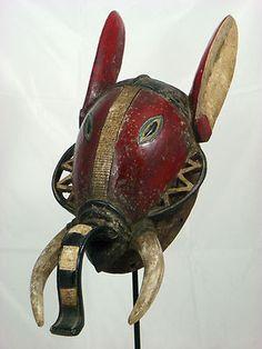 Fine African Tribal Mask BAULE Zoomorphic Elephant Mask Collectible