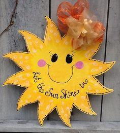 Sunshine sun summer door hanger by Angelascreativecraft on Etsy