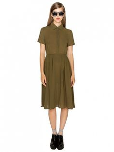 This dress is the single frock beloved by all sizes and shapes. // Cadet Olive Chiffon Shirtdress at Pixie Market