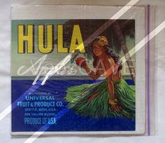 Beautiful original 1950s apple crate label for Hula Apples with a lovely half-naked Hawaiian girl!