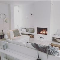 All white living room. Home Living Room, Home, Home Fireplace, Room Inspiration, House Interior, Home Deco, Living Room Inspiration, Home And Living, Scandinavian Design Living Room