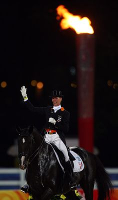 Anky van Grunsven of The Netherlands and Salinero after competing during the Dressage Grand Prix held at the Hong Kong Olympic Equestrian Venue in Sha Tin during day 6 of the Beijing 2008 Olympic Games on August 14, 2008 in Hong Kong, China.