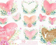 Watercolor Valentine's Day Clipart, Rustic Floral Clipart, Wedding Clipart, Watercolor Commercial Use Clipart Set, Heart Clipart, Heart PNG