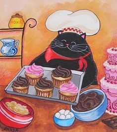 Annya Djachiachvili - Black cat baking cupcakes Some of my favorite things in one picture ; I Love Cats, Crazy Cats, Cute Cats, Black Cat Art, Black Cats, Cat Crafts, Here Kitty Kitty, Halloween Cat, Beautiful Cats