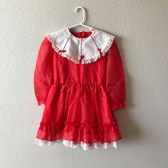 9958b1d31e 6x Girl Vintage Red Party dress / Size 6 vintage Girl dress by  MerakiiCreate on Etsy