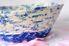 I love these pretty blue fabrics and handmade this lovely Blue fabric basket.  Lovely Key Holder, Winter Blue Bowl, Lovely Delft Blue Cotton Fiber Bowl, Decorative Basket by WexfordTreasures on Etsy