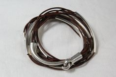 Leather+Wrap+Bangle+Bracelet+Red+Brown+Beaded+by+wrapsbyrenzel,+$19.95