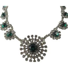 Kramer of New York Crystal and Emerald Green Rhinestone Rhodium Plated Necklace