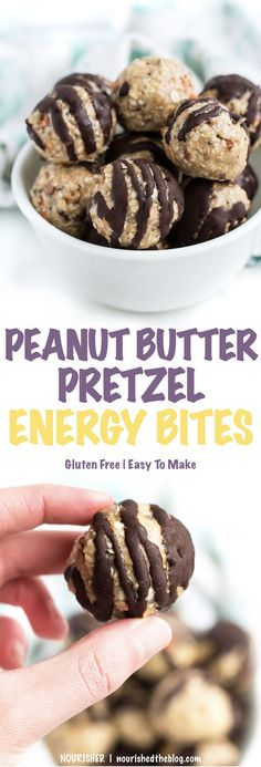 Gluten Free Peanut Butter Pretzel Energy Bite | healthy snack recipe | gluten free, dairy free, vegan-possible, easy to make | The perfect afternoon snack, simple dessert or game-day party food that everyone can enjoy!