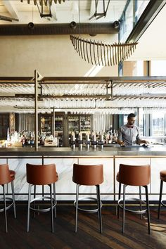The Gantry Restaurant & Bar, inside the Pier One Hotel at Sydney's Walsh Bay, opened its doors to reveal a chic, industrial-inspired space.