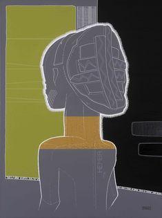 Hemba -05- Statue, masque, arts premiers, Afrique, portrait - Tableau de droite du triptyque HEMBA-03/04/05 - Format : 60 x 80 cm - Technique : Peinture acrylique sur toile de lin - Description : Portrait commémoratif HEMBA - Pièce d'origine : Ethnie HEMBA - Description : Statut d'ancêtre (Style de Yambula) - Localisation (pays) : République démocratique du Congo, région de la rivière Luika - Datation : 19ème.