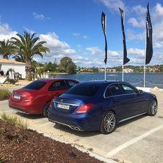 Red vs. Blue. #MBPhotoCredit: @mrdes #Mercedes #Benz #C63AMG #C63 #AMG #C450AMG #C450 #AMGSport #instacar #carsofinstagram #germancars #luxury