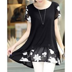 Stylish Scoop Neck Floral Embroidery Faux Twinset Short Sleeve T-Shirt For Women